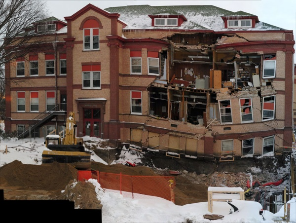 Figure 2: Facade collapse of Minard Hall along the northwest wall of the building.  Photo provided by: Daniel Reetz