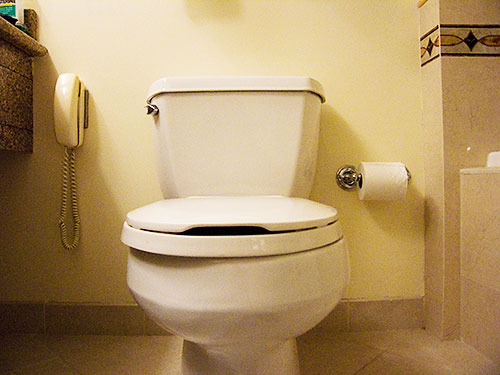 A phone next to the toilet. Hotel in Naples, FL.